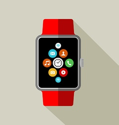 Smart watch in 2d style with app icon vector