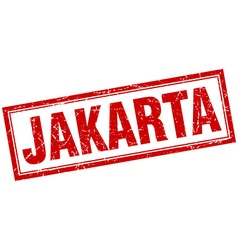 Jakarta red square grunge stamp on white vector