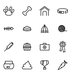 Thin line icons - pet vector