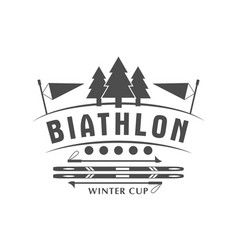 biathlon logo badge winter vector image vector image