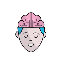 Boy face with brain out side in the head vector