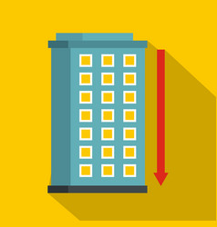 Building and red down arrow icon flat style vector