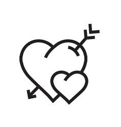 Cartoon heart arrow icon vector