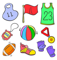 Collection stock of sport equipment doodles vector