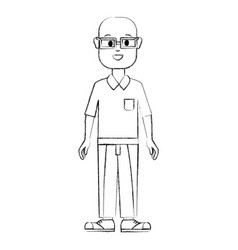 Contour happy man with glasses shirt and pants vector