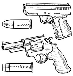 doodle guns vector image vector image