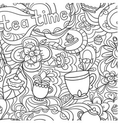 doodle seamless pattern about coffee tea time - vector image