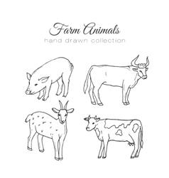 Farming farm elements Hand vector image vector image