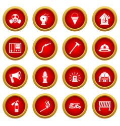Fireman tools icon red circle set vector