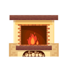 fireplace icon logo design in flat style vector image vector image