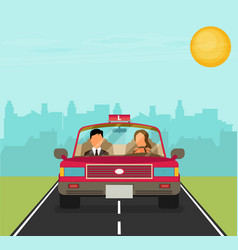 flat design concept of driving school with car vector image vector image