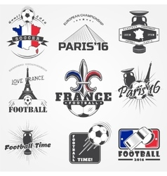 Football Championship set Soccer time Detailed vector image
