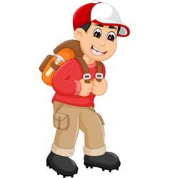 handsome backpacker cartoon in action vector image vector image