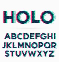 Holographic alphabet font vector