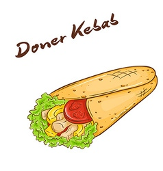 isolated cartoon hand drawn fast food Donner kebab vector image vector image