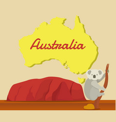 Koala climbing tree with australia map for vector