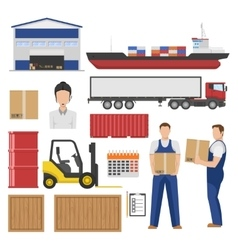 Logistics flat elements set vector