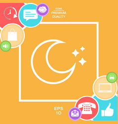 moon stars line icon vector image