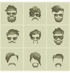 Mustache beard and hairstyle hipster vector
