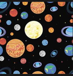 pattern planets of the solar syste vector image