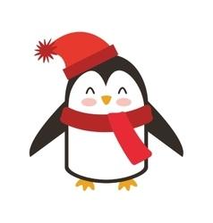 penguin winter clothes icon vector image