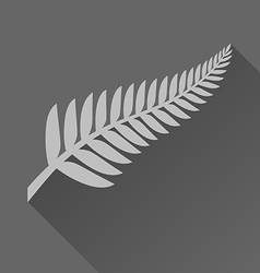 Silver fern with long shadow vector