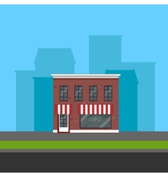 Small cafe in flat polygonal style vector