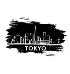 Tokyo Skyline Silhouette Hand Drawn Sketch vector image