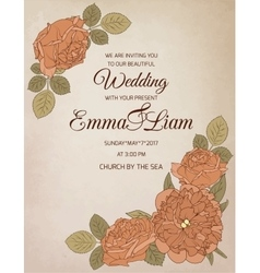 Wedding invitation rose peony flowers vector image