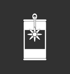 White icon on black background canned food can vector