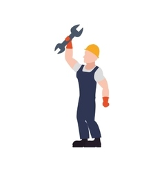 Helmet wrench constructer worker industry icon vector