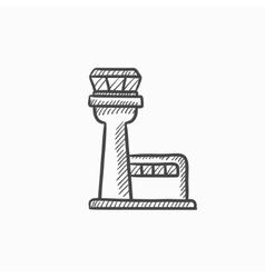 Flight control tower sketch icon vector image
