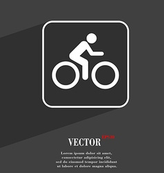 Cyclist symbol flat modern web design with long vector