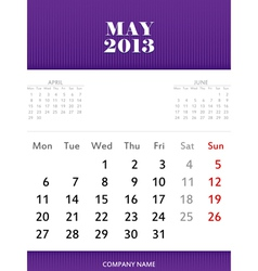May 2013 calendar design vector image