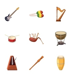 Tools for music icons set cartoon style vector