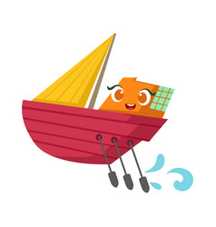 Small sailing yacht with paddles set cute girly vector