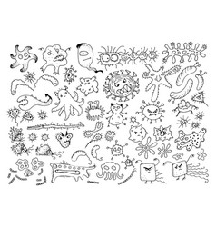 Set of doodle bacteria germs or cartoon monsters vector