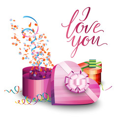 Gift box serpentine and inscription vector