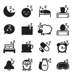 Silhouette sleep icons vector