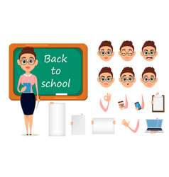 Back to school cute teacher with pointer and vector