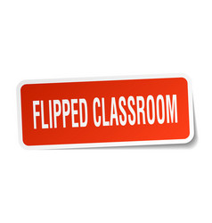Flipped classroom square sticker on white vector