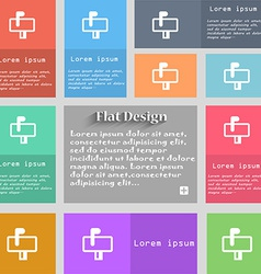 Mailbox icon sign set of multicolored buttons vector