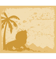 lion growls under a palm tree a vector illustratio vector image