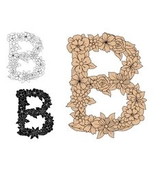 Letter b in an intricate floral design vector
