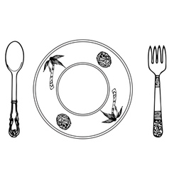 Cartoon plate fork and spoon vector