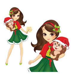 Brunette Christmas Girl With Monkey vector image