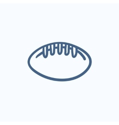 Rugby football ball sketch icon vector image