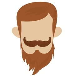 Hipster hairstyle with mustache vector