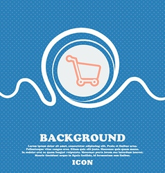 Shopping cart sign icon Blue and white abstract vector image