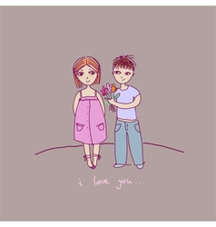 a a boy and a girl vector image